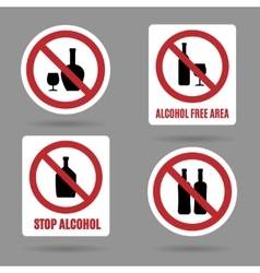 No alcohol and free area signs vector