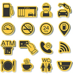 Gas station icons fuel icons stickers vector