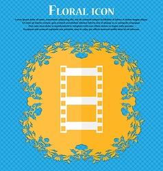 Video sign icon frame symbol floral flat design on vector
