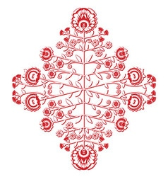 Polish folk inspired floral red and whitepattern vector