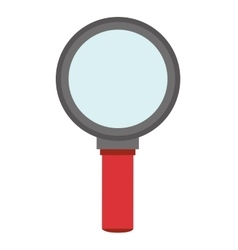 Red and grey magnifying glass vector