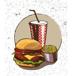 Fast food poster in retro pop art style vector