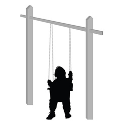 Baby on a swing silhouette vector