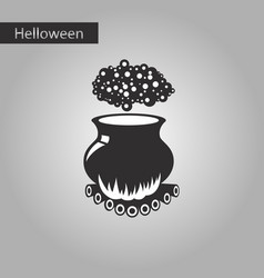 Black and white style icon of potion cauldron vector
