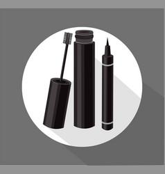 Black mascara brush eyeliner cosmetics vector