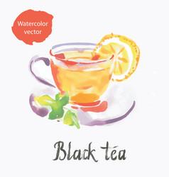 black tea watercolor vector image