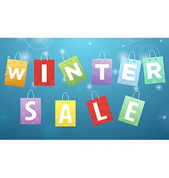 Caption winter sale on packages vector