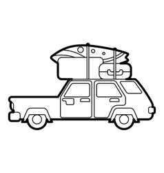 Car with luggage on roof icon outline style vector