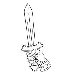 cartoon image of hand with sword vector image vector image