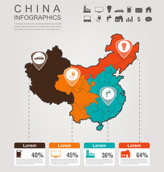 china map with infographic elements infographics vector image vector image