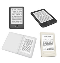 e-book reader or e-reader icon set vector image