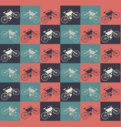 elegant seamless pattern with retro bikes vector image