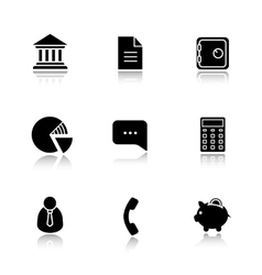 Finance and banking drop shadow icon set vector image vector image