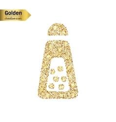 Gold glitter icon of salt shaker isolated vector