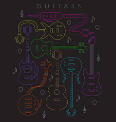 guitar in neon colors vector image vector image