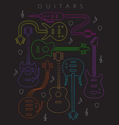 guitar in neon colors vector image