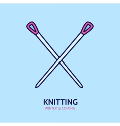 Knitting is love modern line icon of vector
