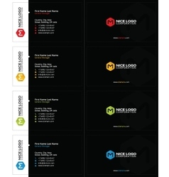 M hexagon business card black vector