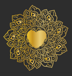 mandala gold round ornament pattern on black vector image