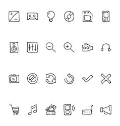 Media hand drawn doodle icons 3 vector