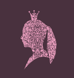 profile silhouette of a princess in a frame vector image vector image
