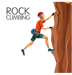Scene man climbing rock mountain without equipment vector