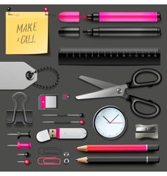 Set of office supplies vector image vector image