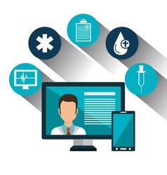 Set technology online services medical isolated vector