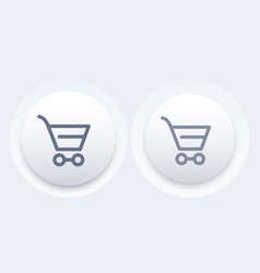 shopping cart line icon modern button vector image