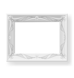 silver picture frame on white background for vector image