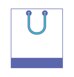 square shopping bag icon with handle in blue and vector image vector image