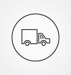 Truck outline symbol dark on white background logo vector