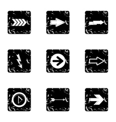 Types of arrows icons set grunge style vector image vector image