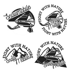 Vintage snowmobile emblems vector