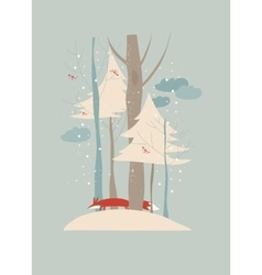 Winter landscape with trees and fox vector image