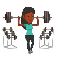 woman lifting barbell vector image vector image