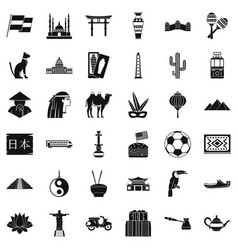 World tour icons set simple style vector