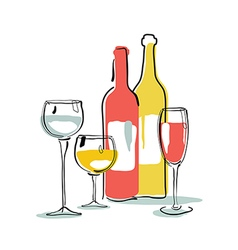 Wine bottle glass silhouette vector