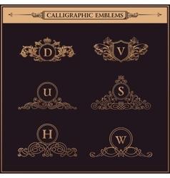 Vintage decorative gold elements flourishes vector