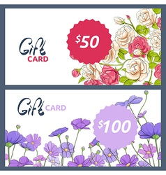 Gift card with colorful flowers vector