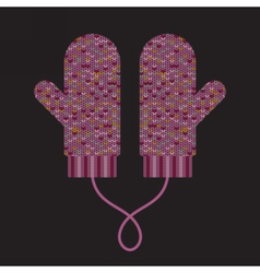 Pair of knitted mittens vector