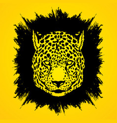 Cheetah face tiger head front view face vector