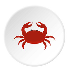 Red crab icon circle vector