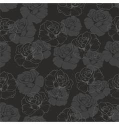 Seamless dark floral background with grey roses vector
