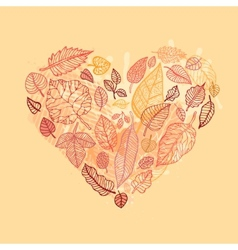 Heart of the autumn leaves vector
