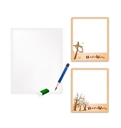 Pencil and Halloween Photo Frame with Blank Paper vector image