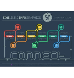 Web template of Infographic timeline about connect vector image