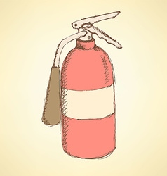 Sketch colorful extinguisher in vintage style vector