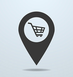 Map pointer with a shopping cart symbol vector