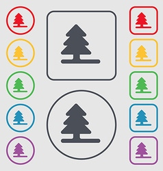 Christmas tree icon sign symbol on the round and vector